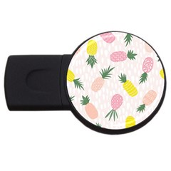 Pineapple Rainbow Fruite Pink Yellow Green Polka Dots Usb Flash Drive Round (4 Gb)