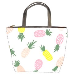 Pineapple Rainbow Fruite Pink Yellow Green Polka Dots Bucket Bags by Mariart