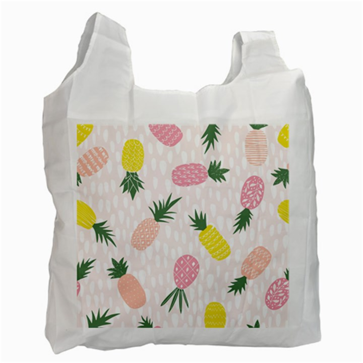 Pineapple Rainbow Fruite Pink Yellow Green Polka Dots Recycle Bag (One Side)