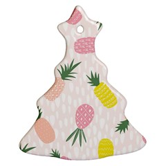 Pineapple Rainbow Fruite Pink Yellow Green Polka Dots Christmas Tree Ornament (two Sides) by Mariart