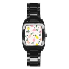Pineapple Rainbow Fruite Pink Yellow Green Polka Dots Stainless Steel Barrel Watch