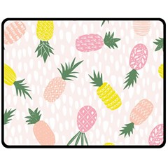 Pineapple Rainbow Fruite Pink Yellow Green Polka Dots Double Sided Fleece Blanket (medium)  by Mariart