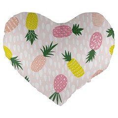 Pineapple Rainbow Fruite Pink Yellow Green Polka Dots Large 19  Premium Flano Heart Shape Cushions by Mariart