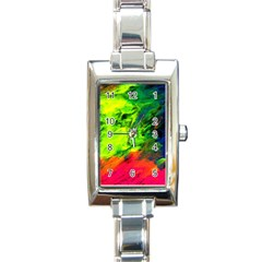 Neon Rainbow Green Pink Blue Red Painting Rectangle Italian Charm Watch by Mariart