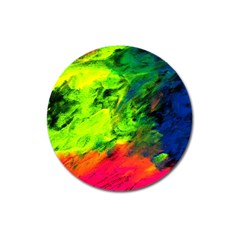 Neon Rainbow Green Pink Blue Red Painting Magnet 3  (round) by Mariart