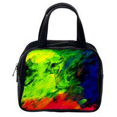 Neon Rainbow Green Pink Blue Red Painting Classic Handbags (one Side) by Mariart
