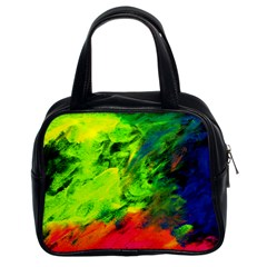 Neon Rainbow Green Pink Blue Red Painting Classic Handbags (2 Sides) by Mariart