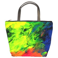 Neon Rainbow Green Pink Blue Red Painting Bucket Bags by Mariart