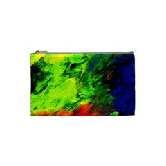 Neon Rainbow Green Pink Blue Red Painting Cosmetic Bag (small)  by Mariart