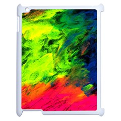 Neon Rainbow Green Pink Blue Red Painting Apple Ipad 2 Case (white) by Mariart