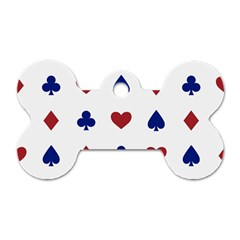 Playing Cards Hearts Diamonds Dog Tag Bone (one Side) by Mariart