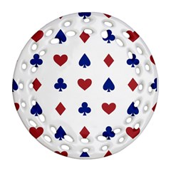 Playing Cards Hearts Diamonds Ornament (round Filigree) by Mariart