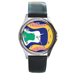 Rainbow Pink Yellow Bluw Green Rainbow Round Metal Watch by Mariart