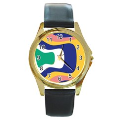 Rainbow Pink Yellow Bluw Green Rainbow Round Gold Metal Watch by Mariart