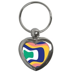 Rainbow Pink Yellow Bluw Green Rainbow Key Chains (heart)  by Mariart