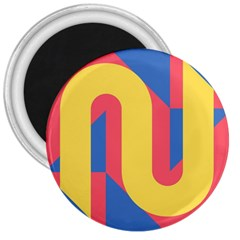 Rainbow Sign Yellow Red Blue Retro 3  Magnets by Mariart