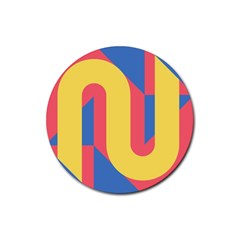 Rainbow Sign Yellow Red Blue Retro Rubber Coaster (round)  by Mariart