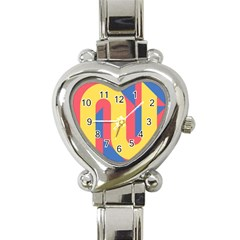 Rainbow Sign Yellow Red Blue Retro Heart Italian Charm Watch by Mariart