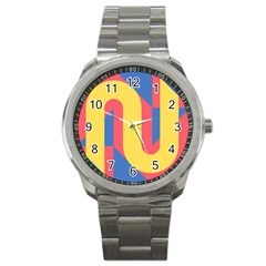 Rainbow Sign Yellow Red Blue Retro Sport Metal Watch