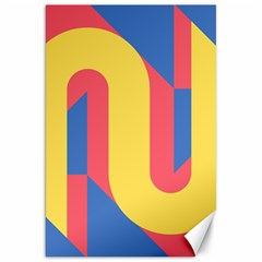 Rainbow Sign Yellow Red Blue Retro Canvas 20  X 30   by Mariart