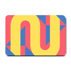 Rainbow Sign Yellow Red Blue Retro Small Doormat