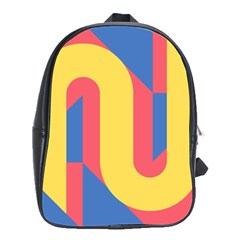 Rainbow Sign Yellow Red Blue Retro School Bag (large)