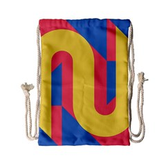 Rainbow Sign Yellow Red Blue Retro Drawstring Bag (small) by Mariart