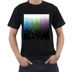 Numerical Animation Random Stripes Rainbow Space Men s T Shirt (black) by Mariart