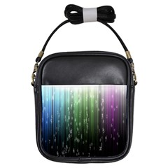 Numerical Animation Random Stripes Rainbow Space Girls Sling Bags by Mariart