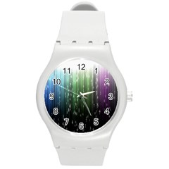 Numerical Animation Random Stripes Rainbow Space Round Plastic Sport Watch (m) by Mariart
