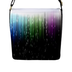 Numerical Animation Random Stripes Rainbow Space Flap Messenger Bag (l)  by Mariart