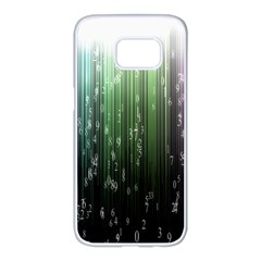 Numerical Animation Random Stripes Rainbow Space Samsung Galaxy S7 Edge White Seamless Case by Mariart