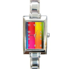 Rainbow Stripes Vertical Lines Colorful Blue Pink Orange Green Rectangle Italian Charm Watch by Mariart