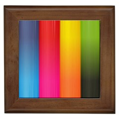 Rainbow Stripes Vertical Lines Colorful Blue Pink Orange Green Framed Tiles by Mariart