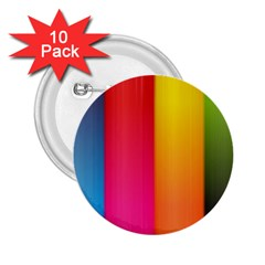 Rainbow Stripes Vertical Lines Colorful Blue Pink Orange Green 2 25  Buttons (10 Pack)