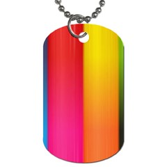 Rainbow Stripes Vertical Lines Colorful Blue Pink Orange Green Dog Tag (one Side) by Mariart