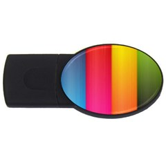 Rainbow Stripes Vertical Lines Colorful Blue Pink Orange Green Usb Flash Drive Oval (2 Gb) by Mariart