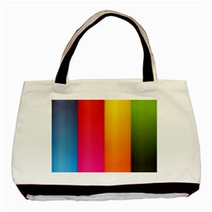 Rainbow Stripes Vertical Lines Colorful Blue Pink Orange Green Basic Tote Bag by Mariart