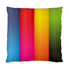 Rainbow Stripes Vertical Lines Colorful Blue Pink Orange Green Standard Cushion Case (one Side) by Mariart