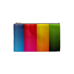 Rainbow Stripes Vertical Lines Colorful Blue Pink Orange Green Cosmetic Bag (small)  by Mariart