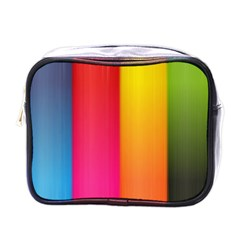 Rainbow Stripes Vertical Lines Colorful Blue Pink Orange Green Mini Toiletries Bags by Mariart