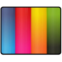 Rainbow Stripes Vertical Lines Colorful Blue Pink Orange Green Fleece Blanket (medium)  by Mariart