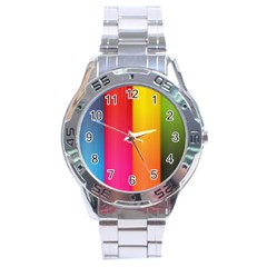 Rainbow Stripes Vertical Lines Colorful Blue Pink Orange Green Stainless Steel Analogue Watch by Mariart