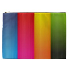 Rainbow Stripes Vertical Lines Colorful Blue Pink Orange Green Cosmetic Bag (xxl)  by Mariart