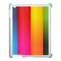 Rainbow Stripes Vertical Lines Colorful Blue Pink Orange Green Apple Ipad 3/4 Case (white) by Mariart