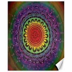 Rainbow Mandala Circle Canvas 11  X 14