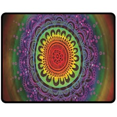 Rainbow Mandala Circle Fleece Blanket (medium)  by Mariart