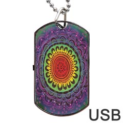 Rainbow Mandala Circle Dog Tag Usb Flash (two Sides) by Mariart