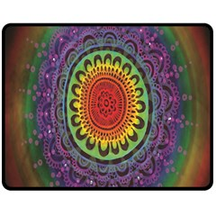 Rainbow Mandala Circle Double Sided Fleece Blanket (medium)  by Mariart
