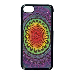 Rainbow Mandala Circle Apple Iphone 7 Seamless Case (black) by Mariart